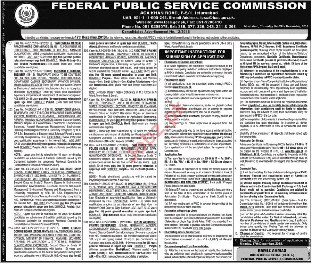 FPSC Jobs 2019 for Research Officers & Inspectors
