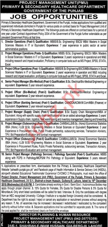 Project Management Unit PMU Jobs 2019 in Lahore