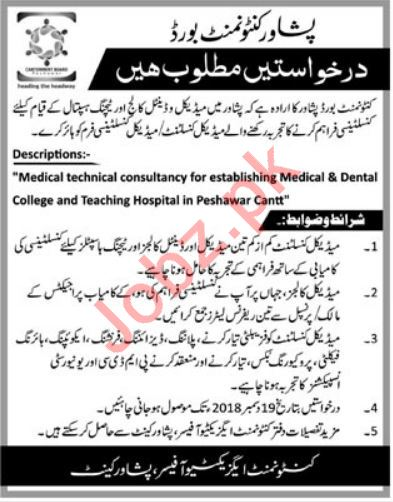 Peshawar Cantonment Board Jobs 2019 for Medical Consultant