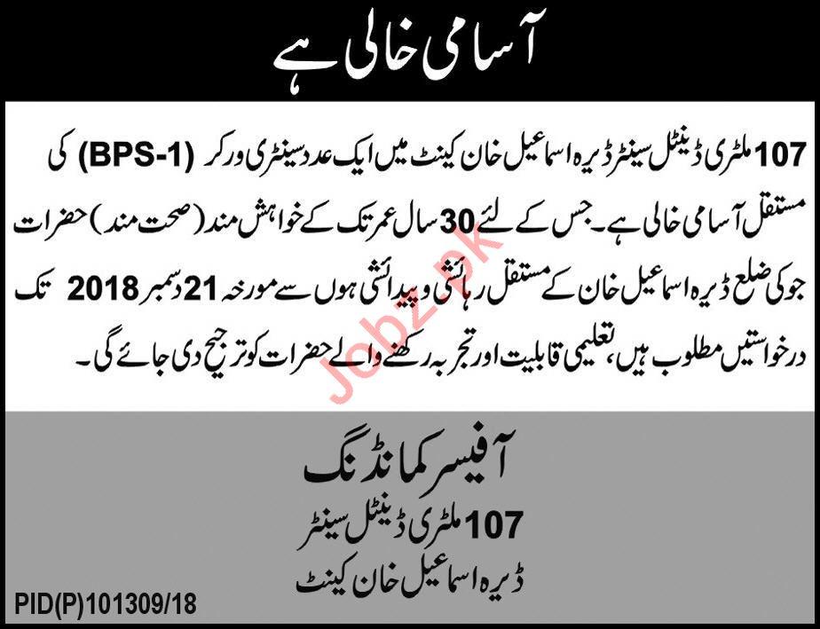 107 Military Dental Center Dera Ismail Khan Jobs 2019