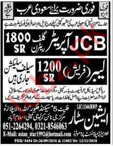 JCB Operators & Labors Jobs 2019 in Saudi Arabia