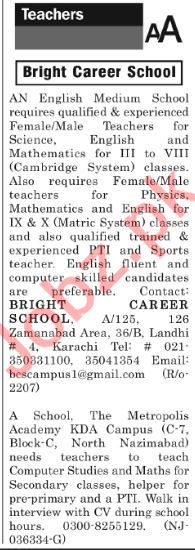 The News Sunday Classified Ads 2nd Dec 2018 Teaching Staff