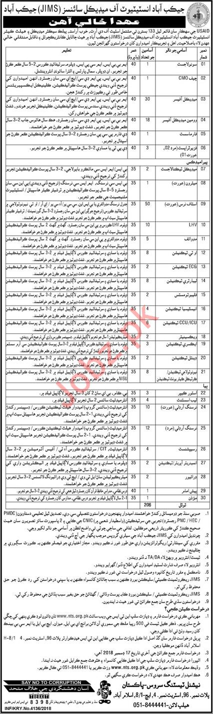 Jacobabad Institute of Medical Sciences Jobs through NTS