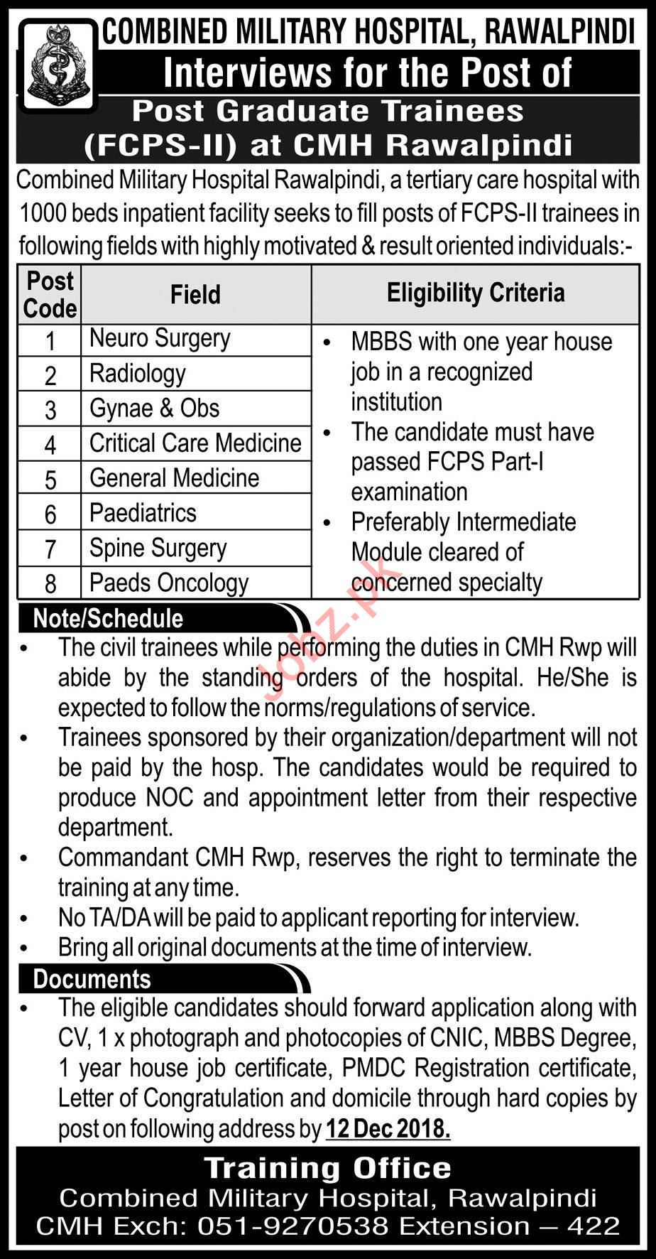 CMH Combined Military Hospital Rawalpindi Walk In Interviews