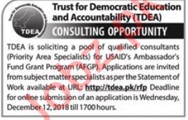 TDEA NGO Jobs 2019 For Consultants