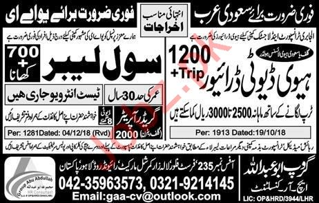 Heavy Duty Driver & Civil Labors Jobs 2019