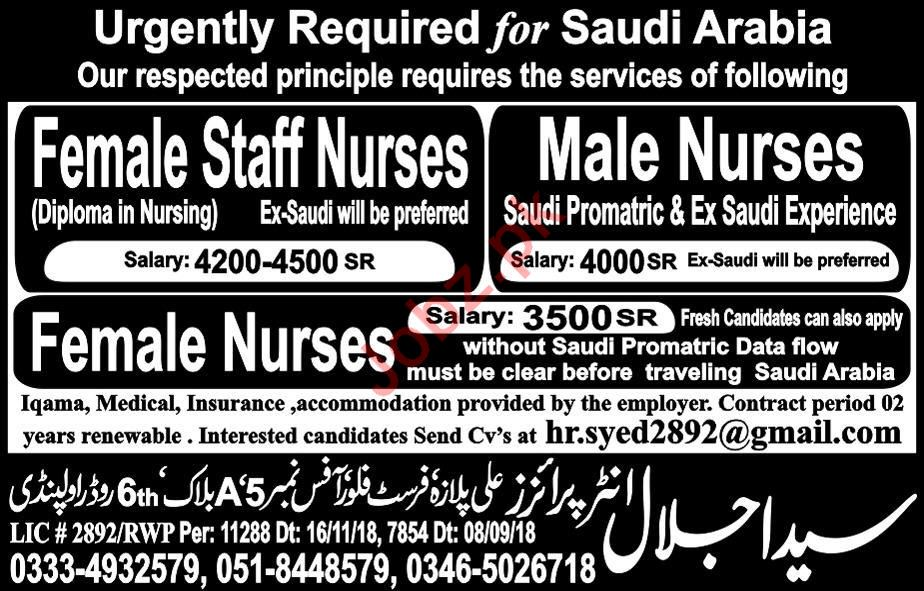 Nurses Jobs 2019 For Hospital in Saudi Arabia 2019 Job Advertisement