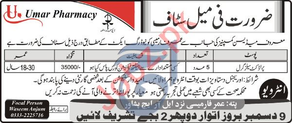 Umar Pharmacy Job 2019 in Peshawar KPK
