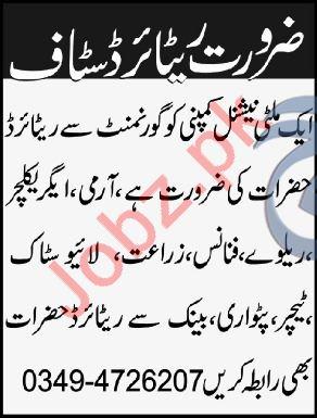 Government Retired Personnel Jobs 2018 In Peshawar KPK