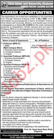 Shah Abdul Latif University Khairpur Faculty Jobs 2019