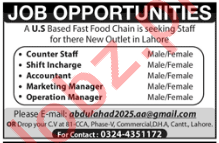 Fast Food Restaurant Jobs 2019 in Lahore