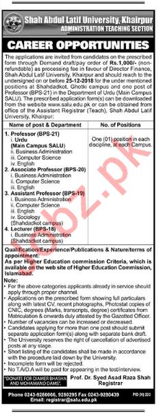 Shah Abdul Latif University Khairpur Teaching Jobs 2019