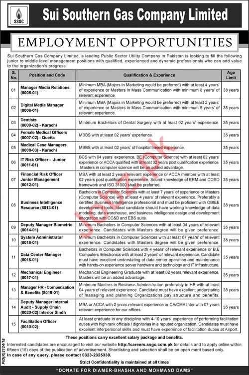 Sui Southern Gas Company Limited Jobs 2019 in Karachi