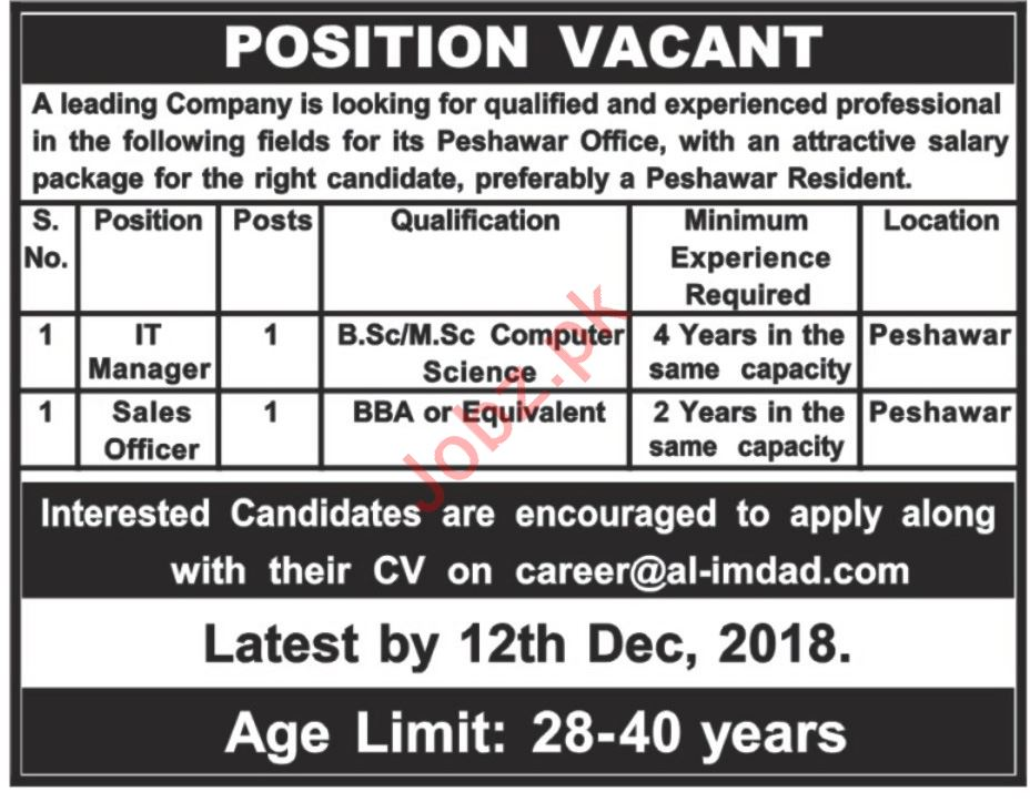 IT Manager & Sales Officer Jobs 2019 in Peshawar KPK