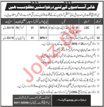CMH Gilgit Jobs 2019 for LDC & Female Sweeper