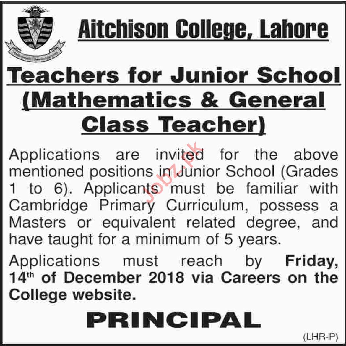 Aitchison College Lahore Jobs 2019 for Teachers