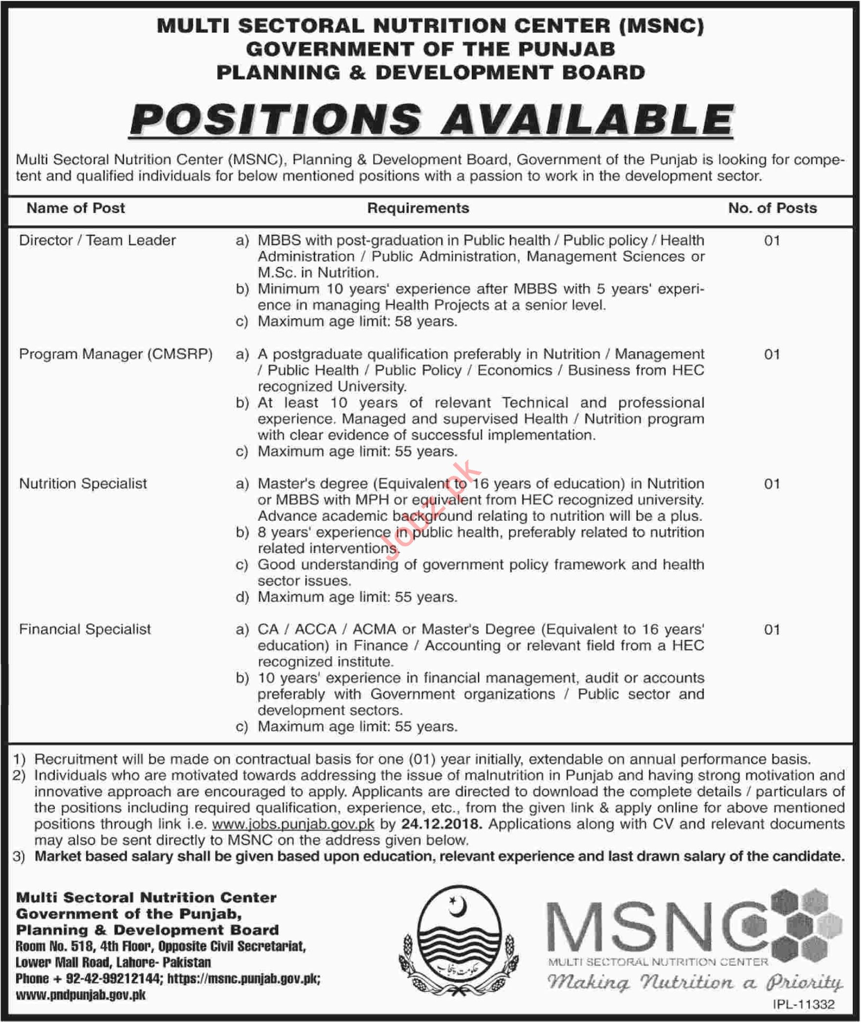 Multi Sectoral Nutrition Center MSNC Jobs 2019 for Managers