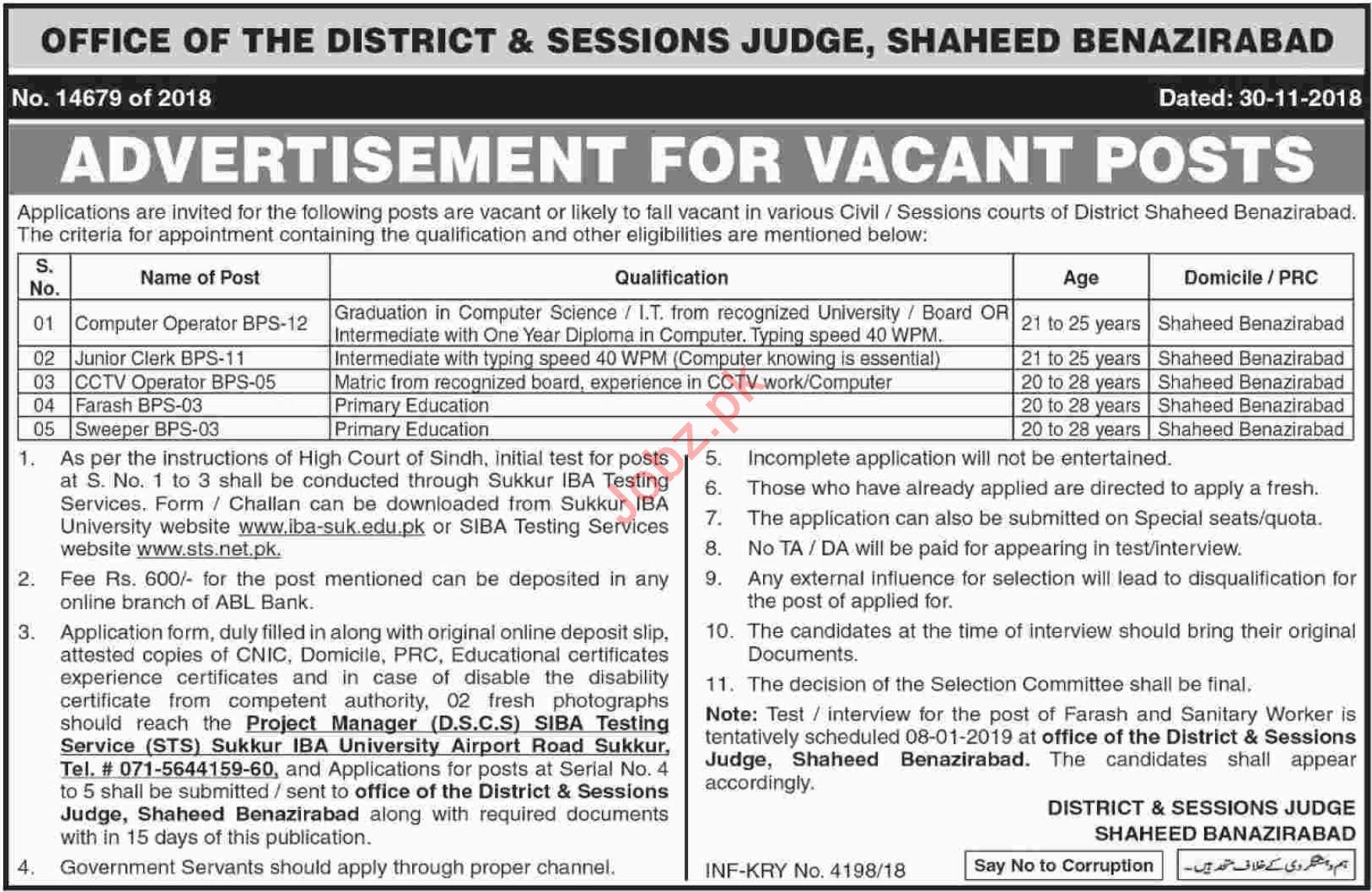District & Sessions Judge Shaheed Benazirabad Jobs 2019