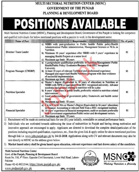 Planning & Development Board Punjab Jobs 2019 for Specialist