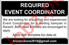 Event Coordinator Jobs 2019 in Karachi