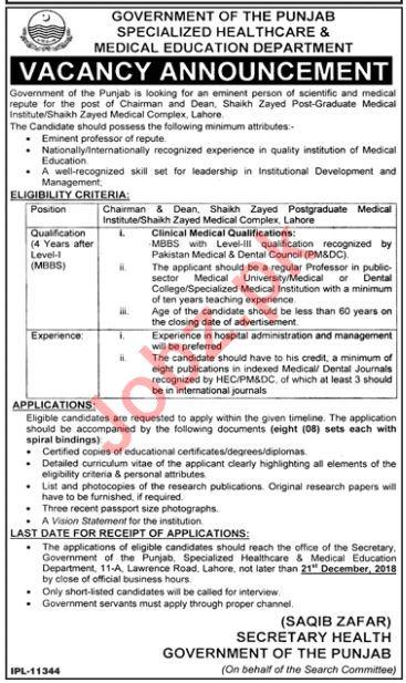 Shaikh Zayed Postgraduate Medical Institute Lahore Jobs