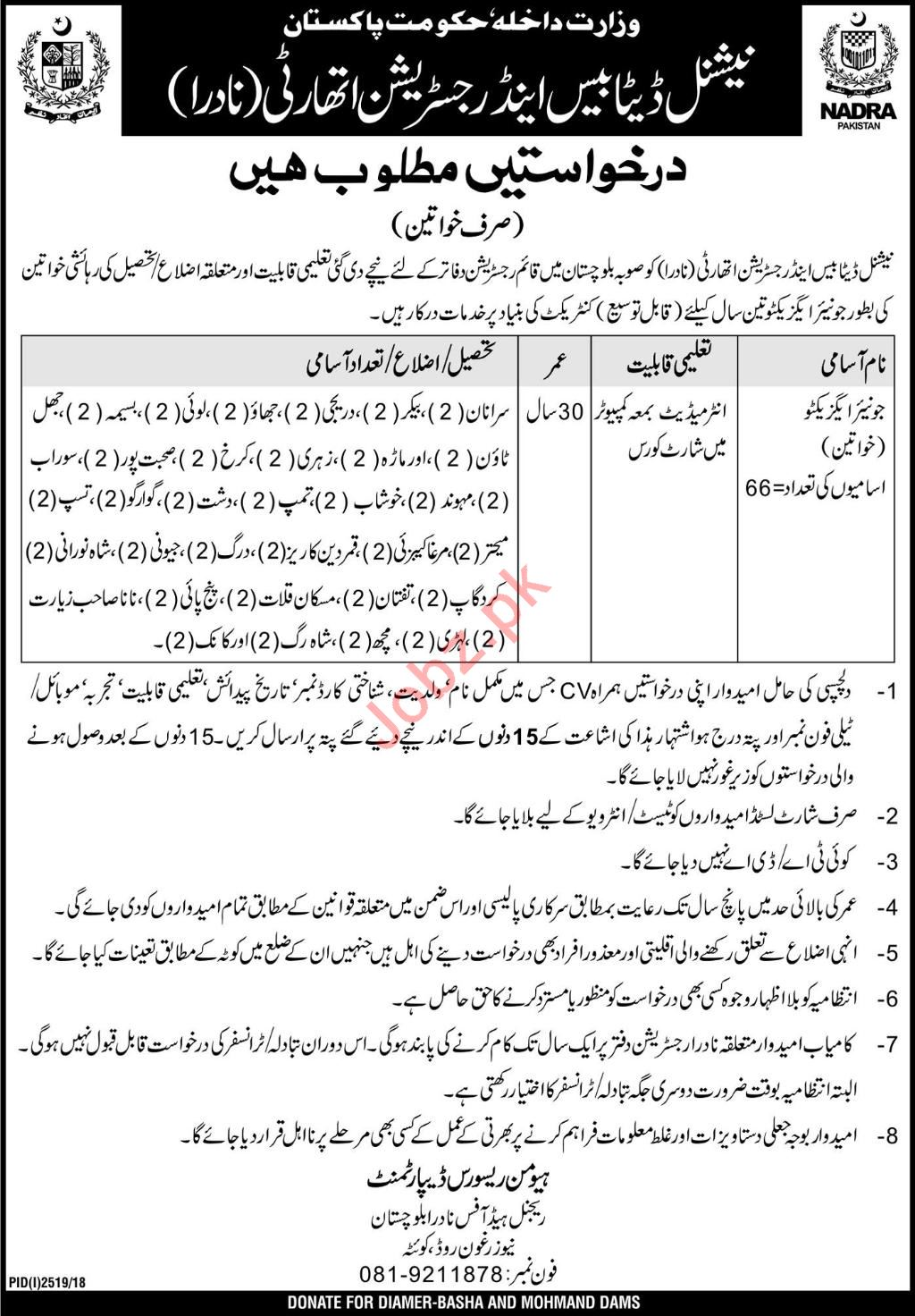 NADRA Regional Head Office Quetta Jobs 2019 for Executive