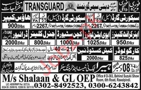 Security Guard, Driver, Cleaner & Loader Jobs 2019