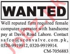 Female Computer Operator Jobs 2019