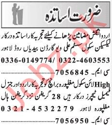 Teachers Jobs 2019 in Lahore