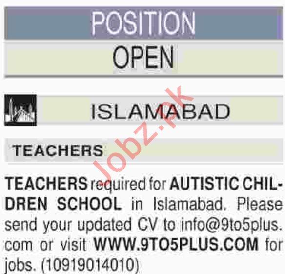Autistic Children School Islamabad Jobs 2019 for Teachers