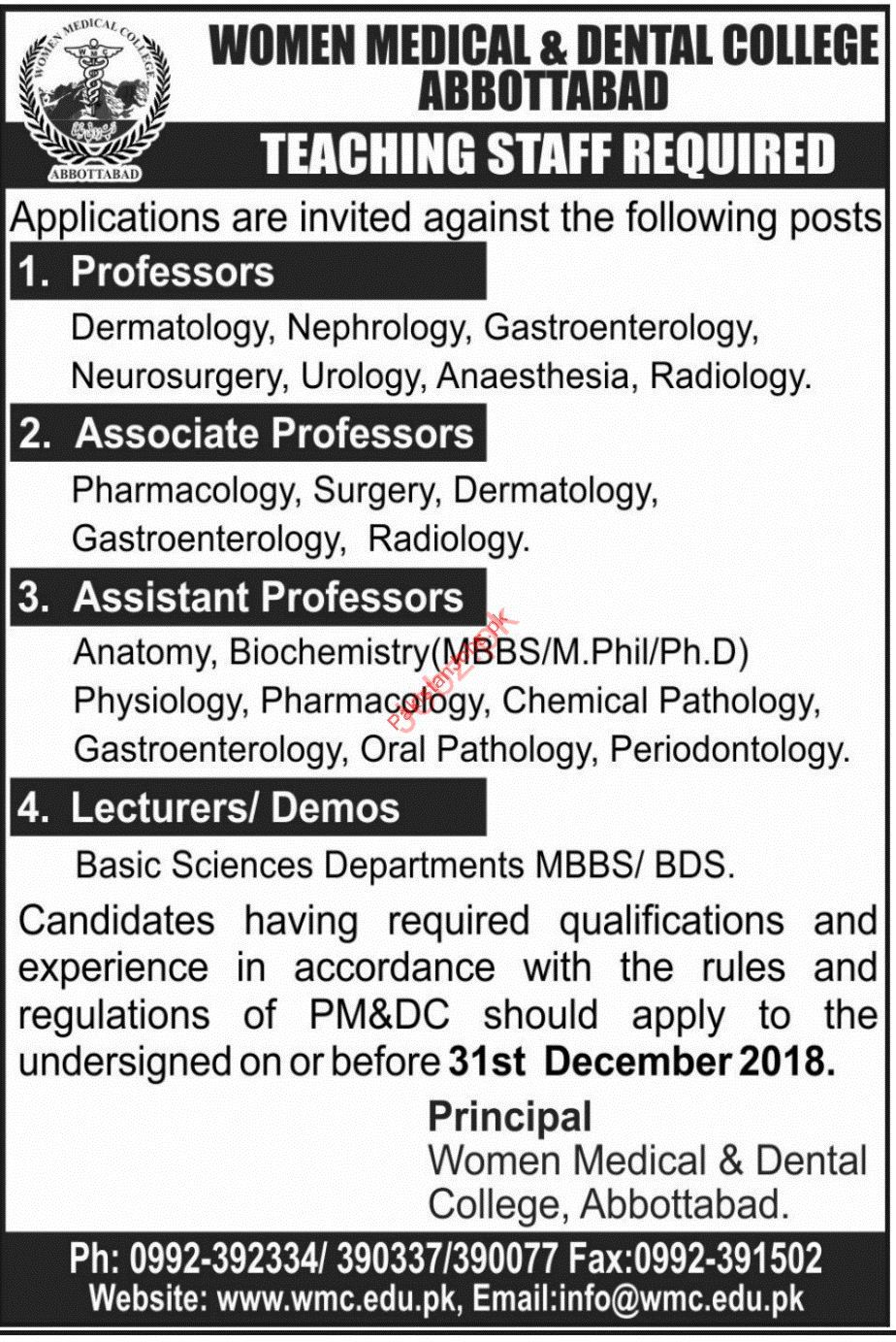 Professor Jobs in Women Medical & Dental College