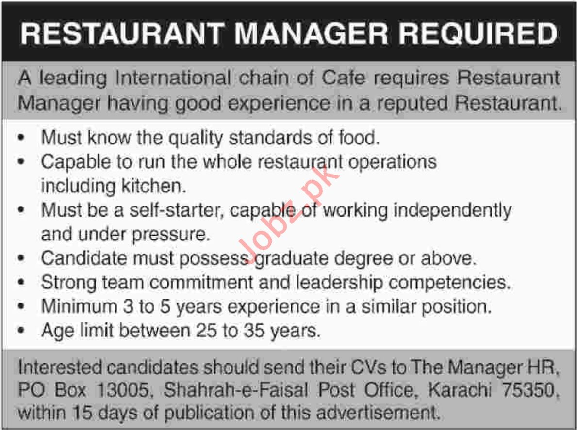 Restaurant Manager Jobs at Cafe