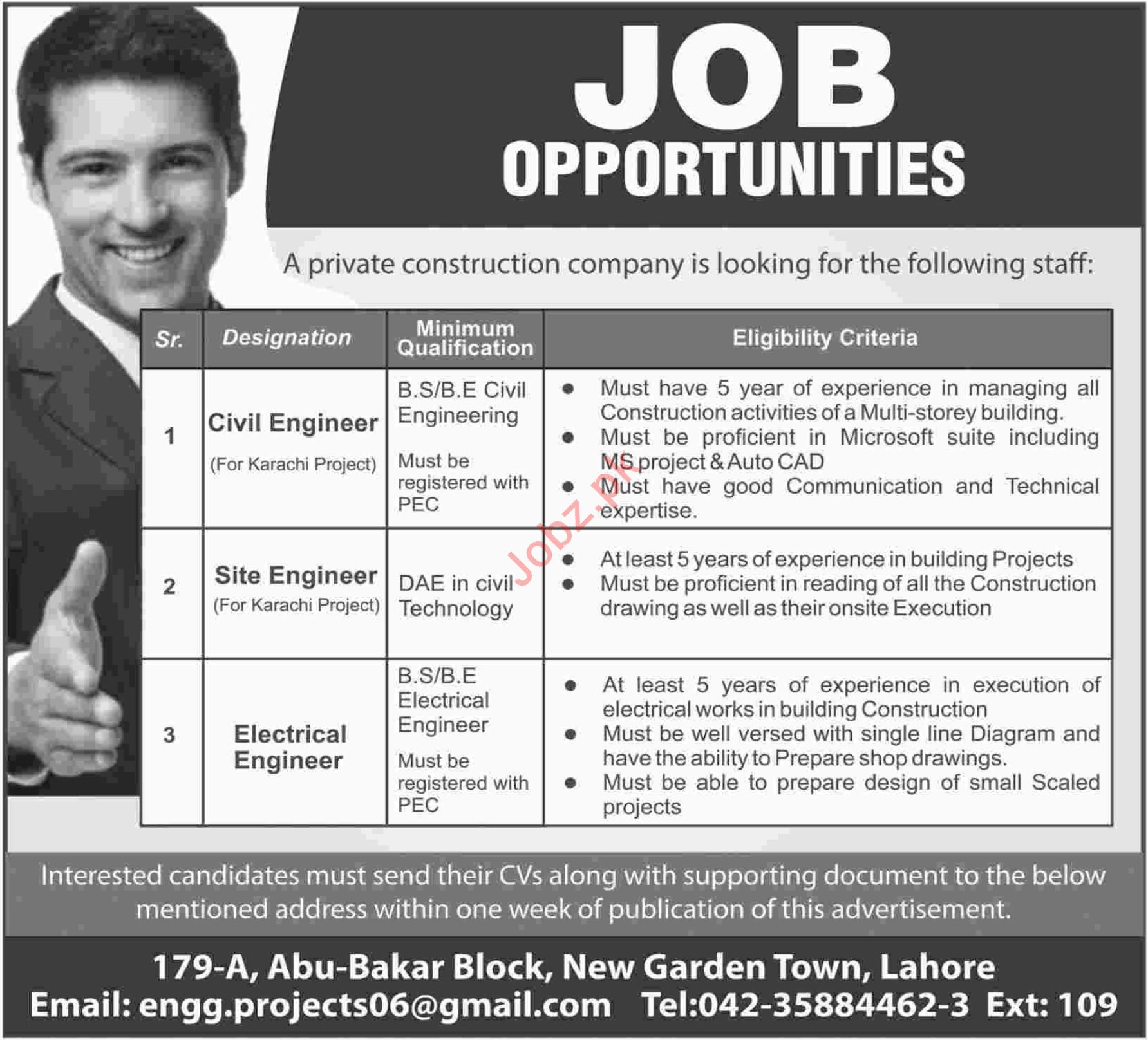 Civil Engineer Jobs at Construction Company