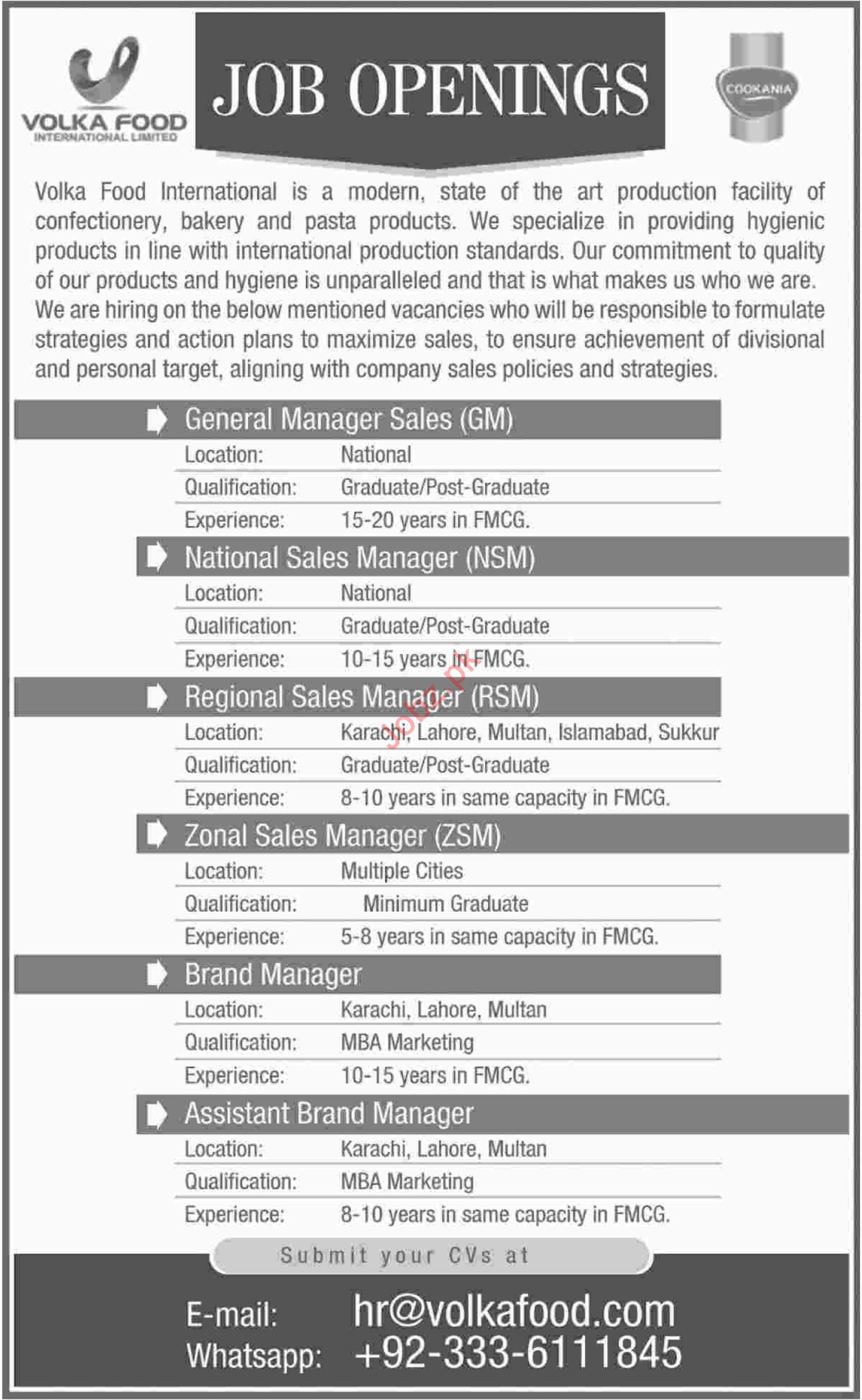 General Manager Sales Jobs at Volka Foods