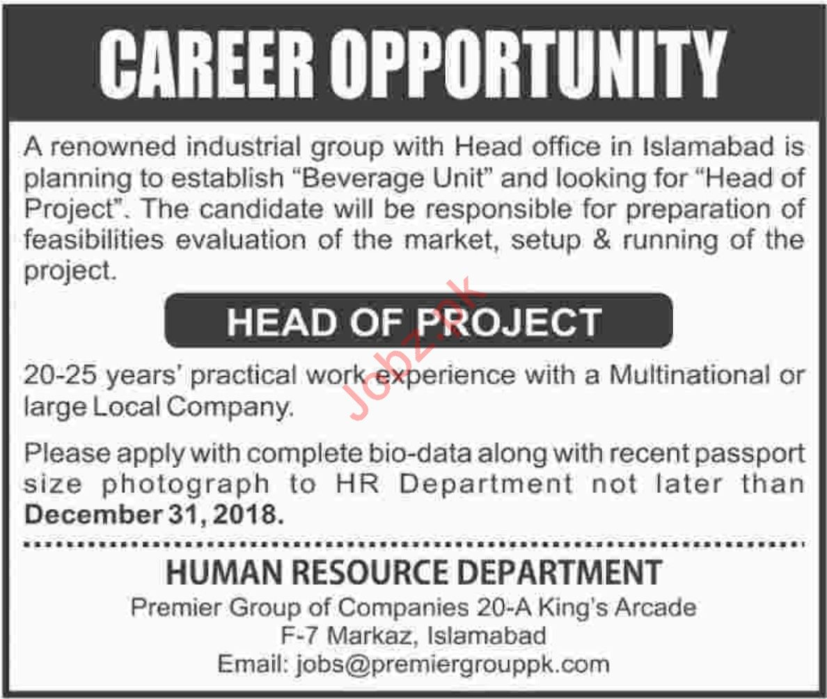 Premier Group of Companies Head of Project Jobs