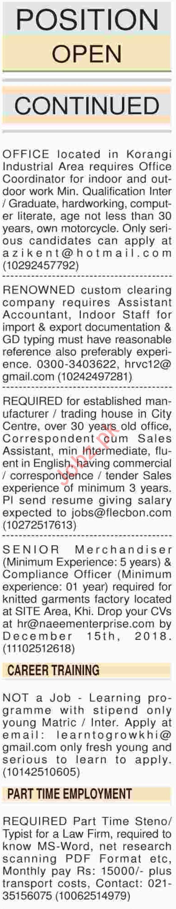 Dawn Newspaper Sunday General Classified Ads 9/12/2018
