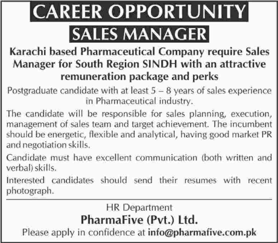 Sales Manager Jobs in Pharmaceutical Company