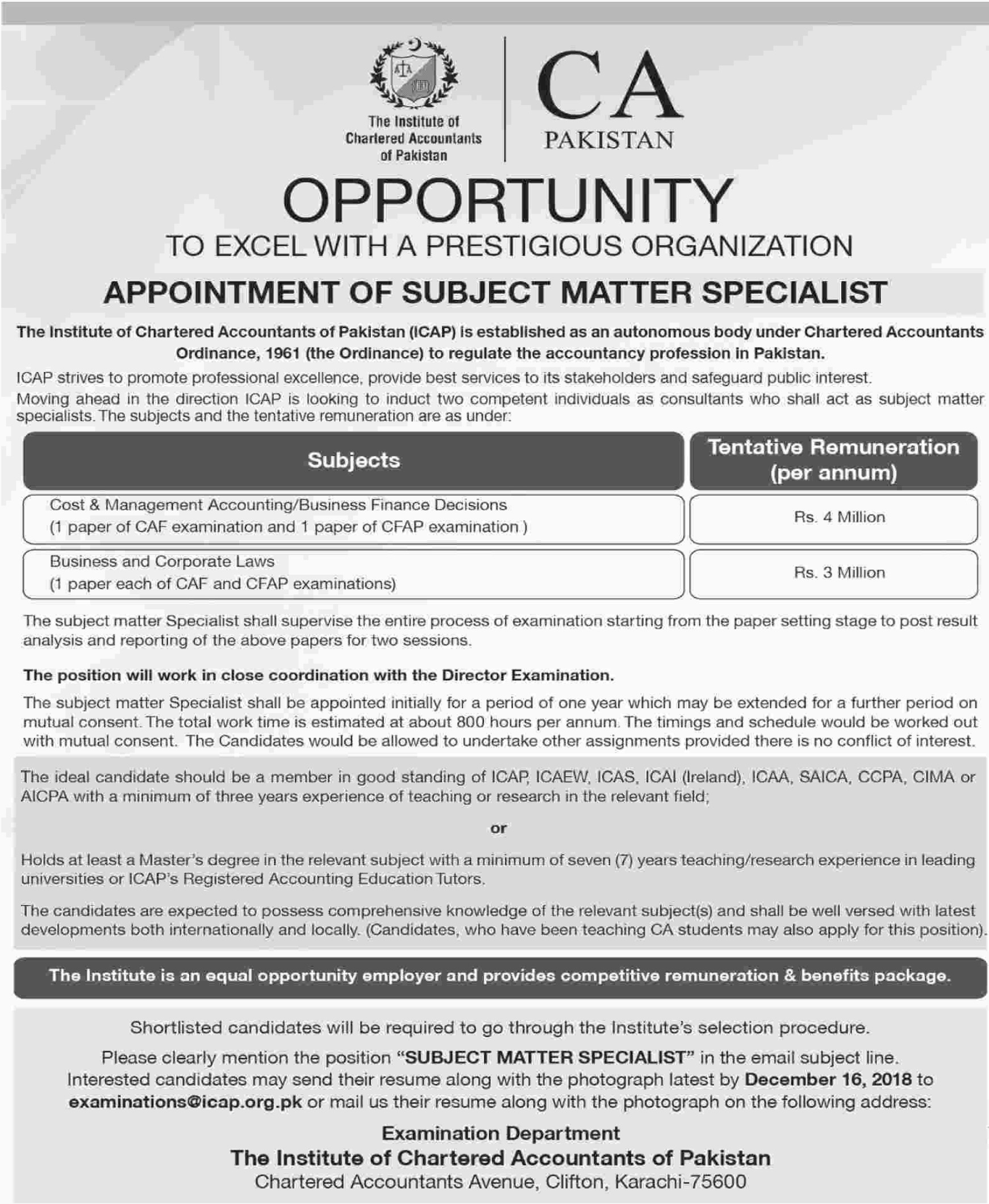 The Institute of Chartered Accountants of Pakistan Jobs 2019