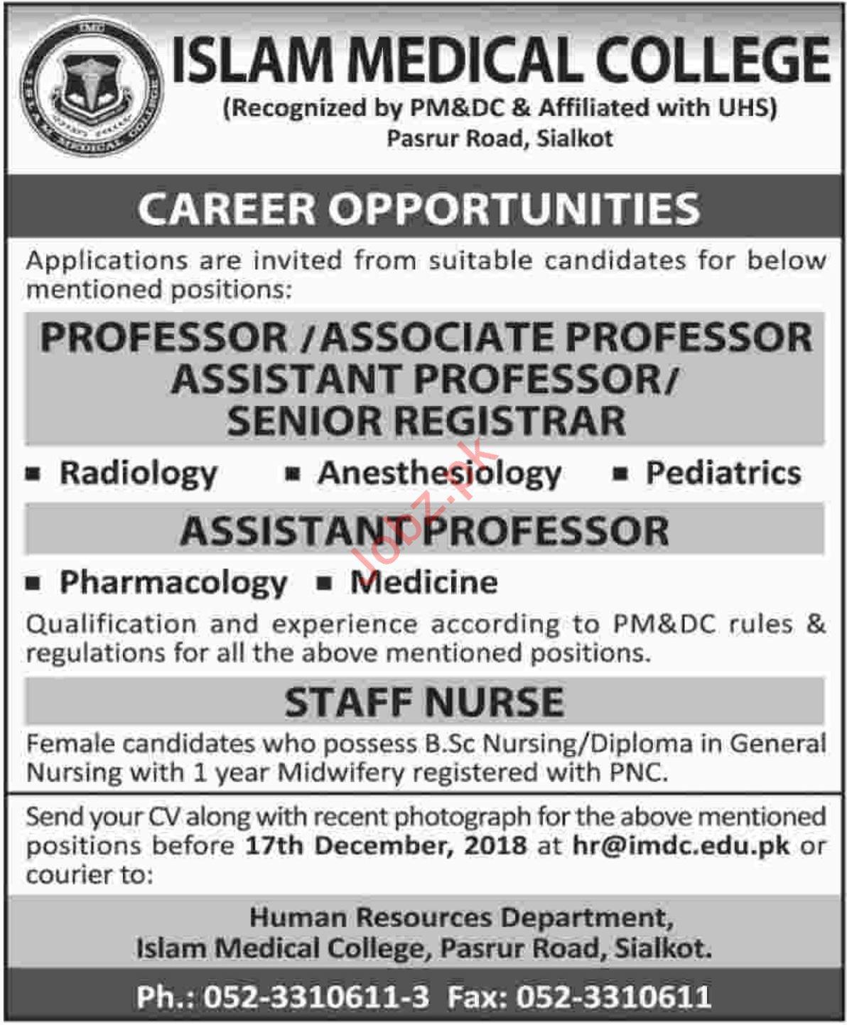 Islam Medical College Professor Jobs