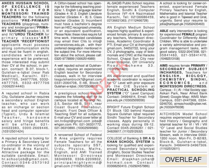 Dawn Newspaper Sunday Teaching Classified Ads 9/12/2018