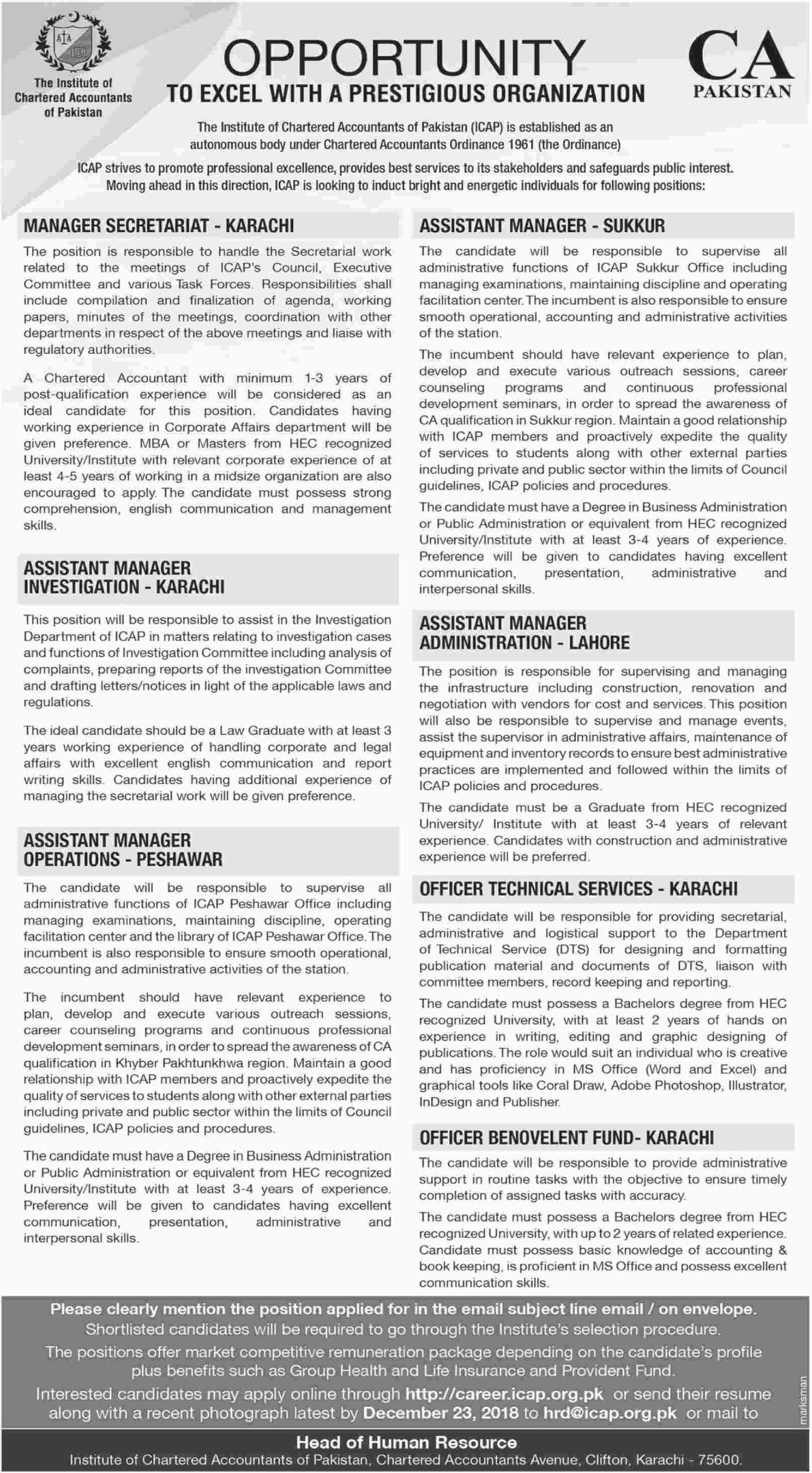 CA Pakistan Manager Secretariat Jobs 2019