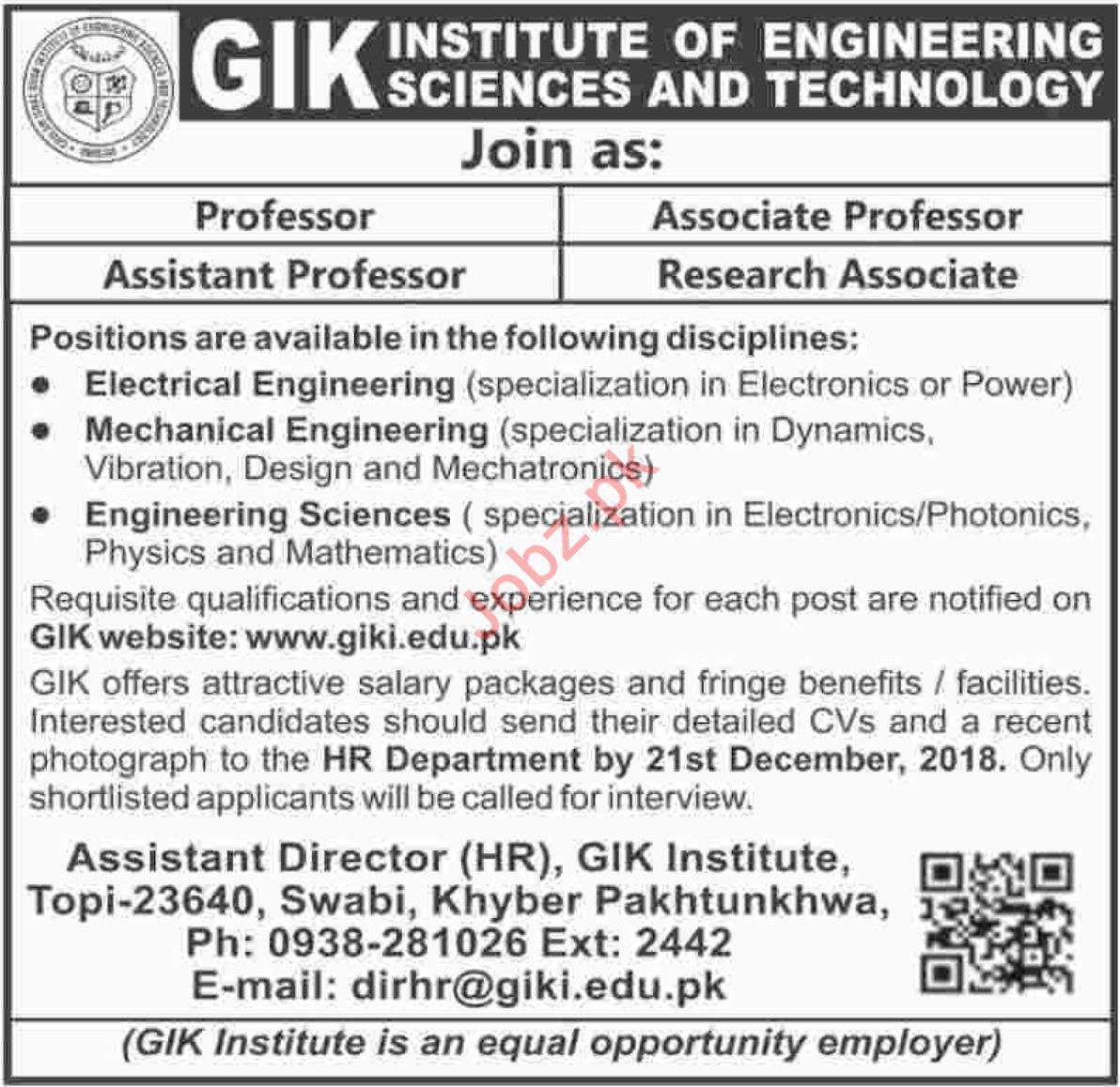 Professor Jobs at GIK Institute of Engineering & Technology