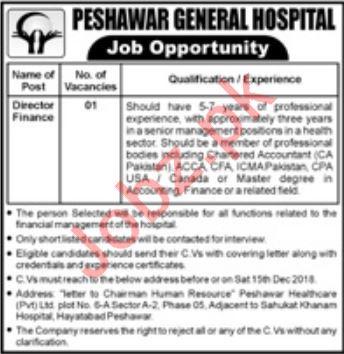 Peshawar General Hospital Job 2019 For Director Finance