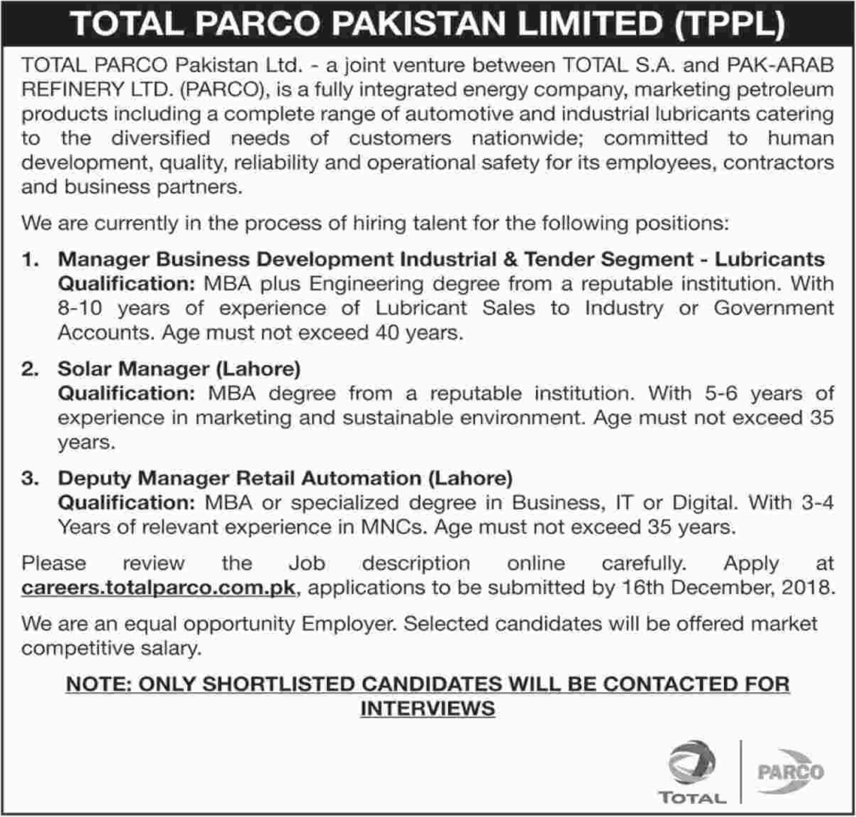 Total PARCO Pakistan Limited TPPL Management Jobs 2019