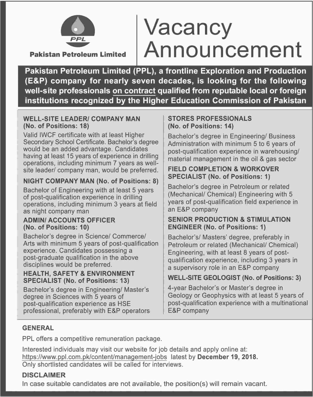 Pakistan Petroleum Limited PPL Site Leader Jobs 2019