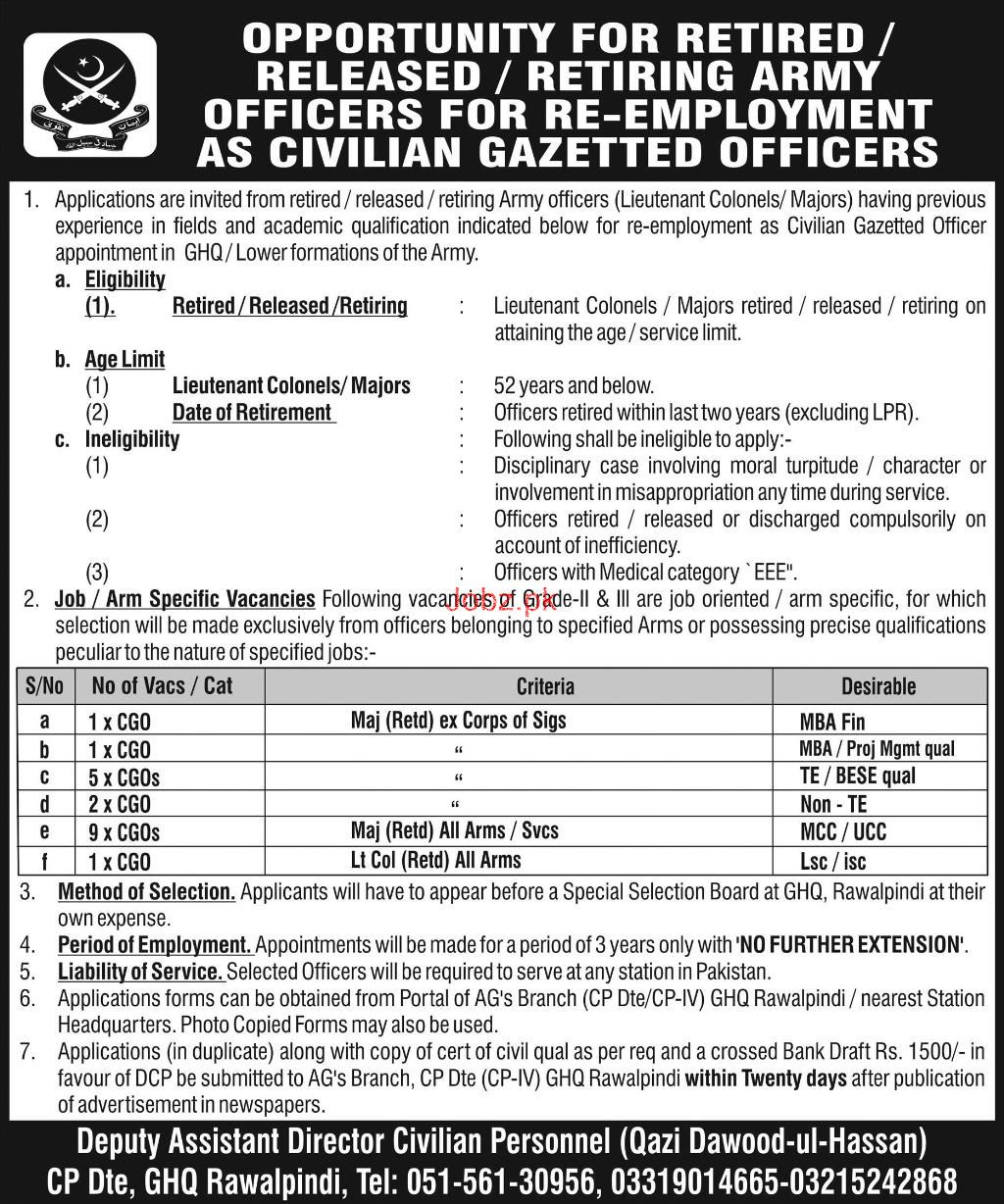 General Headquarter GHQ  CP Dte Retired Army Officers Job