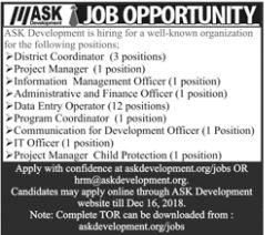 District Coordinator Jobs in ASK Development