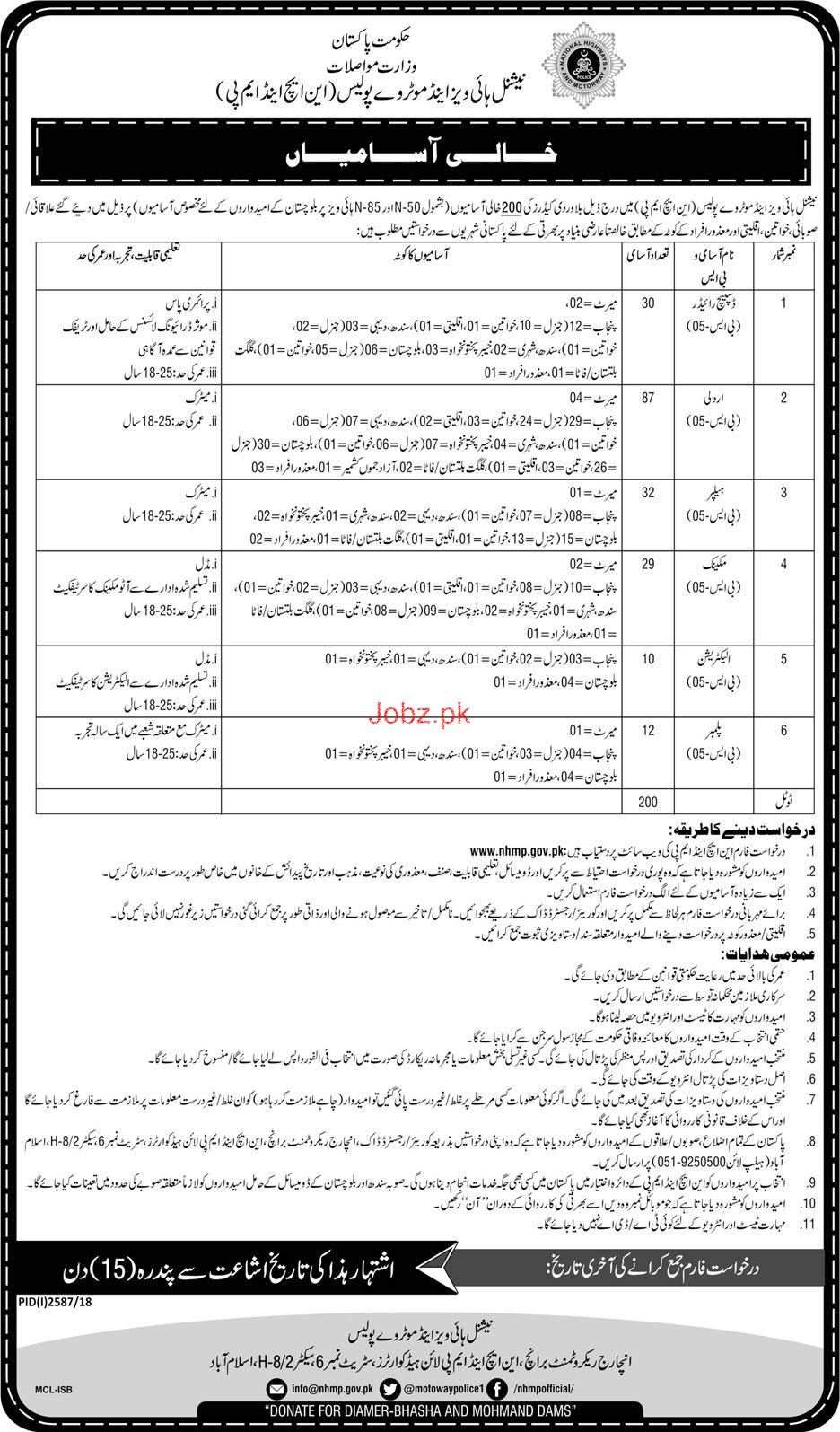 National Highway and Motorway Police NH and MP Jobs 2019