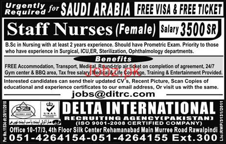 Female Staff Nurses Job in Saudi Arabia