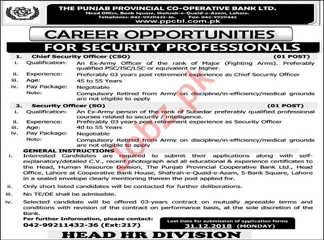 PPCBL Chief Security Officer CSO Jobs